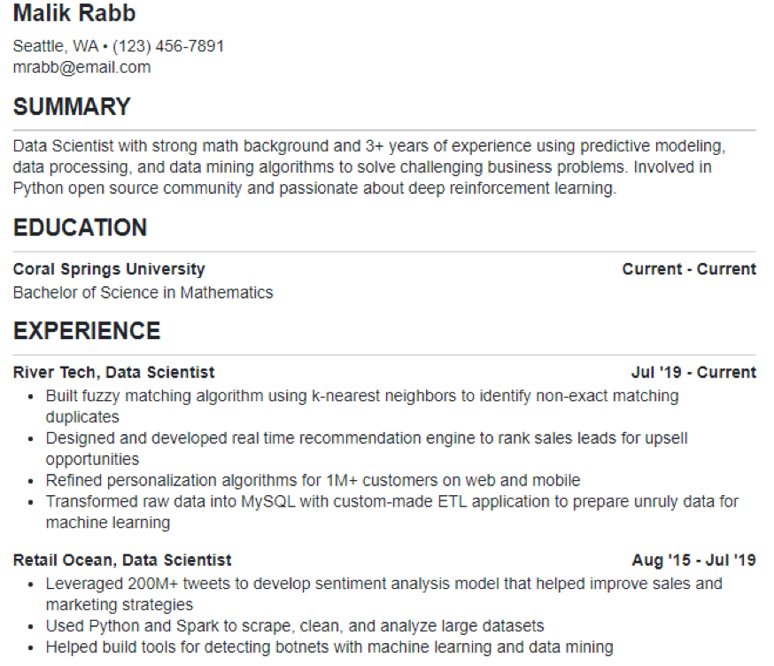 Data Science Resume Example