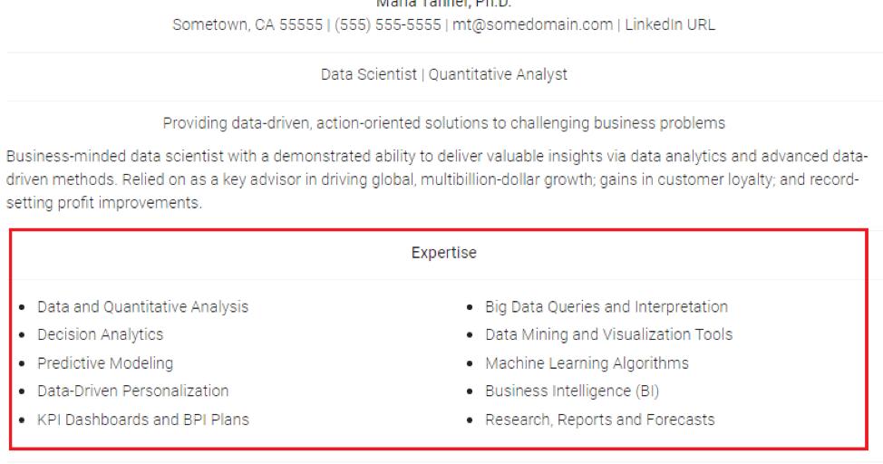 Data Science Resume Sample