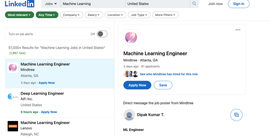 Machine Learning Jobs US