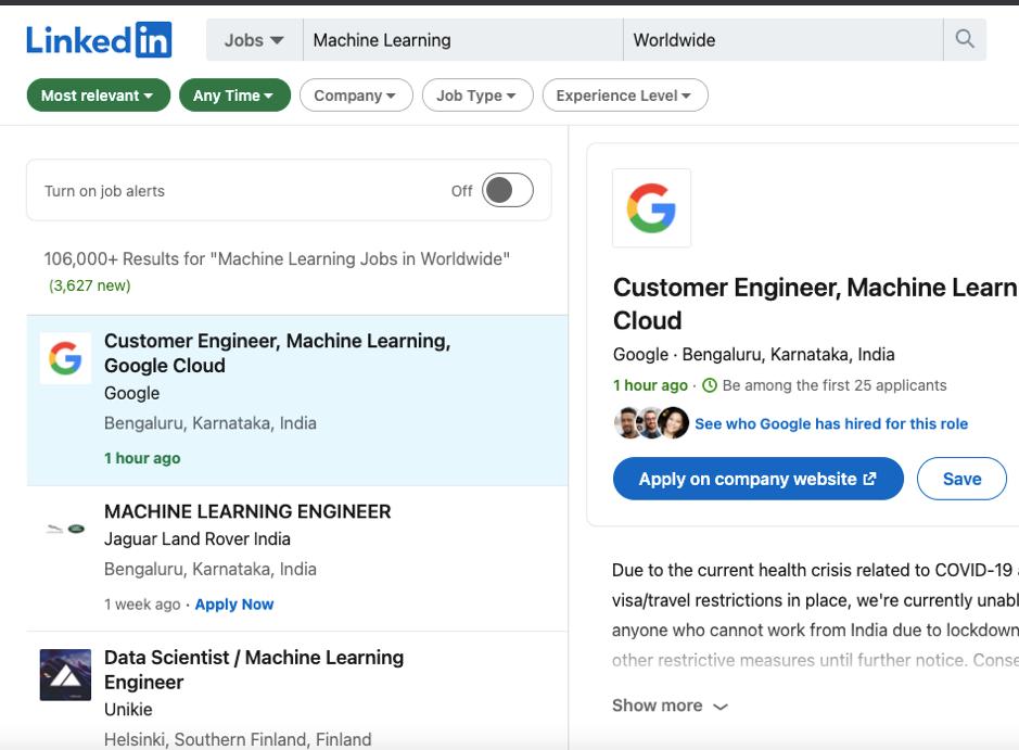 Machine Learning Jobs Worldwide