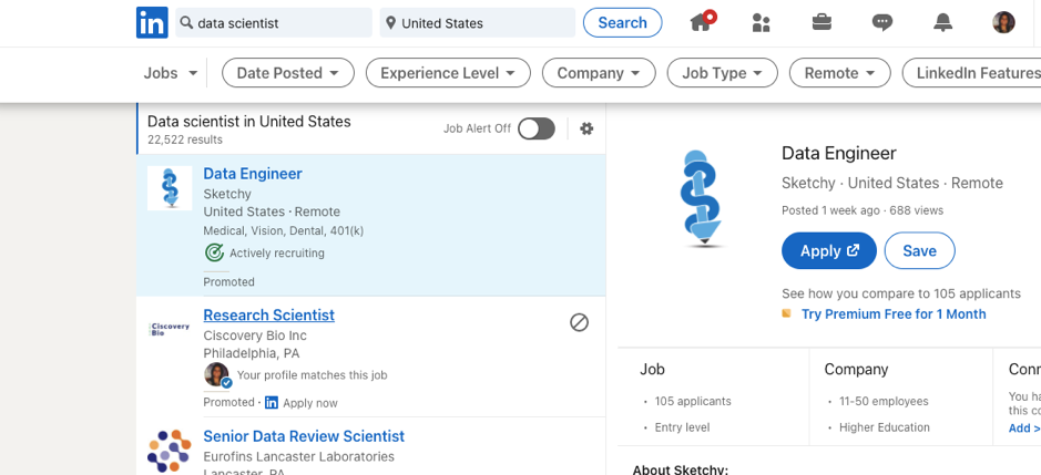 Data Science Jobs on LinkedIN