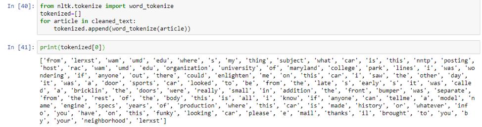 NLP Tokenization Example Python